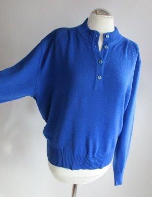 Vintage Polo Feinstrick Pullover Kober Größe XL 42 44 Royalblau Blau Pulli Strickpullover Strick Oversize Rockabilly Jumper