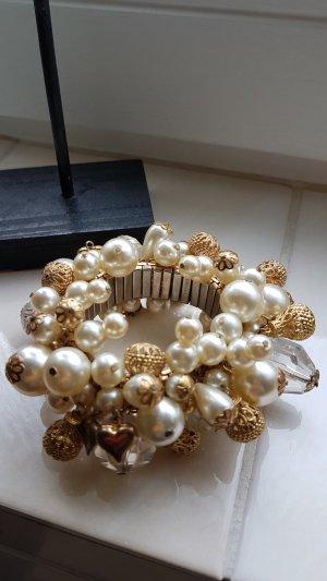 Vintage pompöses Armband mit Perlen elastisch