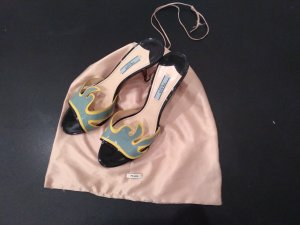 Prada High-Heeled Toe-Post Sandals multicolored leather