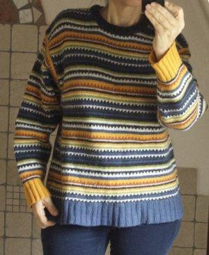Vintage Pulli H&M von vor 2000, Retro Look, Ringelpullover, 45% Wolle. 55% Ramie, schöne Farben, blau, gelb, ocker, cocnac, grün, bunt, Naturmaterial, Winterpulli, Ski, Sport, Freizeit, kuschlig warm, Gr. 158/164, passt aber gut bei Damengröße Gr. 38/40,