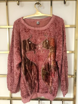 Coarse Knitted Sweater pink-silver-colored