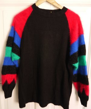 Long Sweater black-neon red