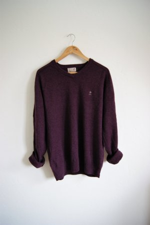 Vintage Pullover Burgunder, Lammwoll-Pullover oversized Weinrot