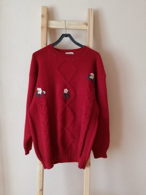 Vintage Wool Sweater dark red-brick red