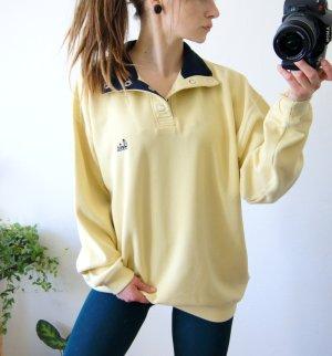Vintage Pullover Gelb, oversized Pullover Kragen, casual blogger