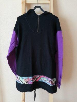 Vintage Hooded Sweater black-blue violet