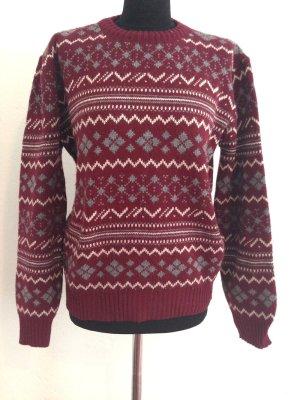 Vintage Pullover in Bordeaux mit Norweger Muster, passt Gr. 36-40