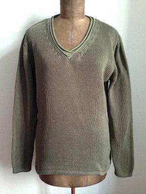 Vintage Pullover in Khaki aus Baumwolle, passt Gr. 40/42