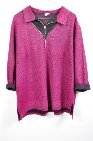 Vintage Pullover Lila Schwarz mit Reißverschluss