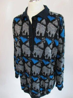 Vintage Pullover Lurex Größe L 42 Elefant Schwarz Blau Silberfarben Strickpullover Long Pullunder Pulli Polo Strick