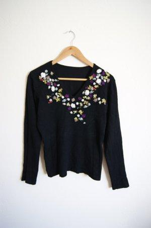 Vintage Pullover mit Blumen-Stickerei, Pullover mit Seide, 20er preppy