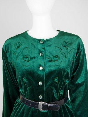 Jersey de cuello redondo verde tejido mezclado