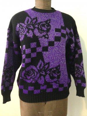 Vintage Pullover mit glitzerndem Garn, passt Gr. 38/40