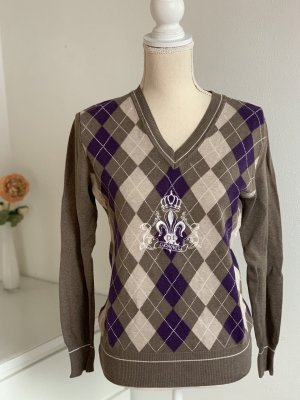 Vintage Pullover mit Raute Muster und V-Neck