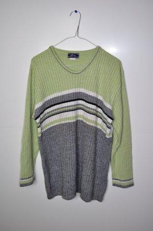 Vintage Pullover mit Streifen und Rippenoptik