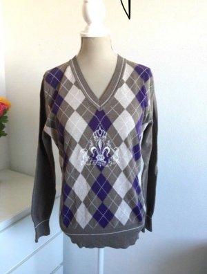 Vintage Pullover mit V-Ausschnitt und Rautemuster