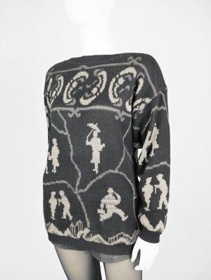 Vintage Pullover mit verspieltem Muster in Schwarz
