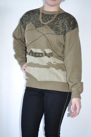 Vintage Pullover Norweger khaki braun