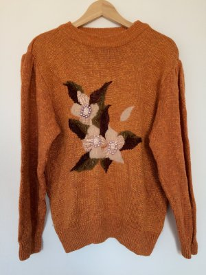 Vintage Pullover Strickpulli Blumen Orange Trend Blogger Cotton