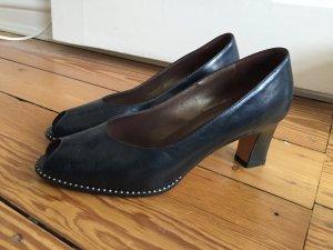 Vintage Pumps, Peeptoe, Leder-Schuhe, Absatz, schwarz, Peter Kaiser, Premium