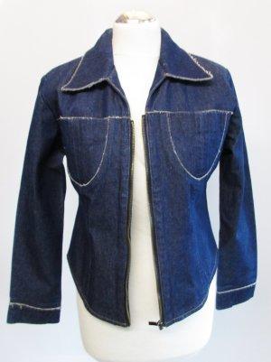 Vintage Raw Denim Jeans Jacke Größe M 38 Blau Retro Indigo Ungebleicht Roh 70er Fransen Beschichtet Kunstleder Blogger