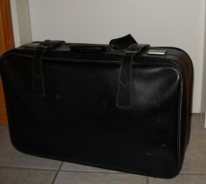 Suitcase black-silver-colored imitation leather