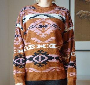 Vintage Retro 80er Pullover Strickpullover mit Aztekenmuster Oversized Gr. L