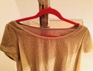 Vintage Retro Bluse Bloggerchic apricot mit Perlen S/M