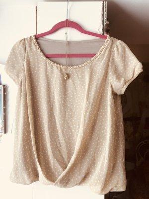 Vintage Retro Bluse Bloggerchic Creme mit Perlen S/M