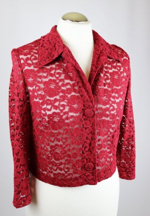 Vintage Retro Bluse Spitze Cardigan Bolero Kurzjacke Größe 38 40 Bordeaux Dunkelrot Blumen Spitzenjacke Spitzenbluse  Blazer Crop Top