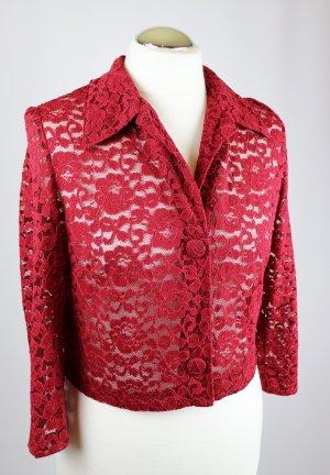 Vintage Retro Bluse Spitze Cardigan Kurzjacke Größe 38 40 Bordeaux Dunkelrot Blumen Spitzenjacke Spitzenbluse  Blazer Crop Top