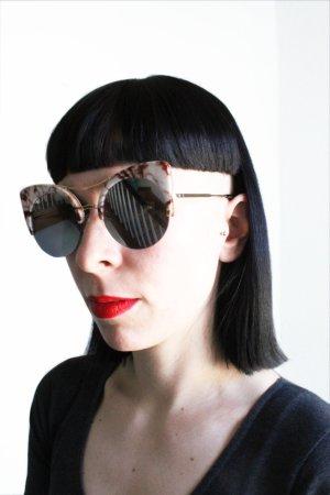 Vintage Retro Cat Eye Oversize Mirrored Marble Sunglasses