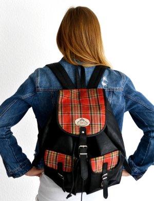 Vintage Retro großer Rucksack Backpack Schwarz mit Muster aus Kunstleder