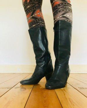 Vintage Retro Leder Boots, Stiefel mit Reißverschluss, schwarz, Gr. 41