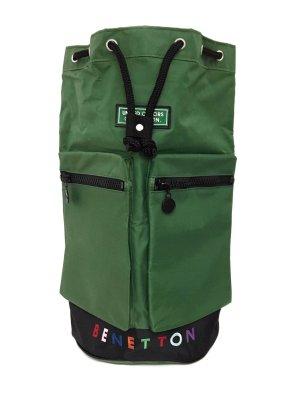 Vintage Retro Rucksack Backpack XL Urban Street Style Benetton 90er Grün