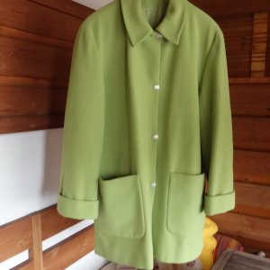 Vintage Wool Coat lime-green-pale green merino wool