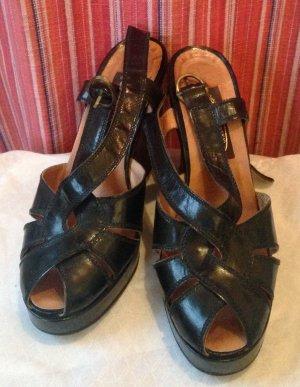 Vintage Strapped Sandals black-black brown leather
