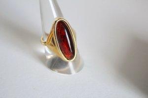 Vintage Ring bernstein farbener Stein und vergoldet 18,2mm
