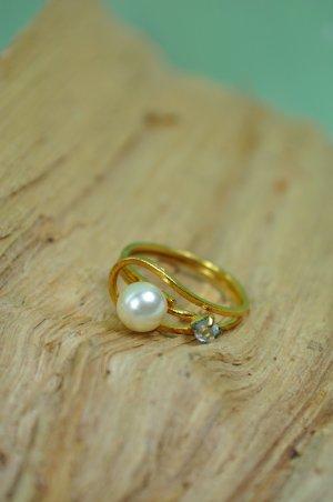 Vintage Ring mit Perle und Stein in Gold