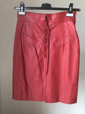 Leather Skirt brick red leather