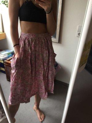 Falda de talle alto rosa claro