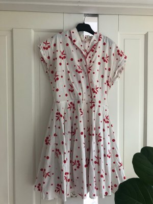 Robe avec jupon blanc-rouge fluo
