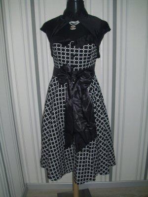 Vestido con enagua negro-blanco tejido mezclado