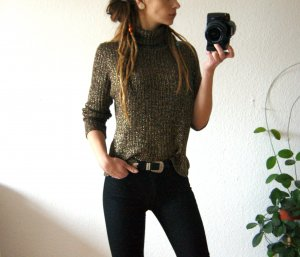 Vintage Rollkragenpullover gold-braun, Strickshirt Turtle Neck, 80er glam blogger alternative