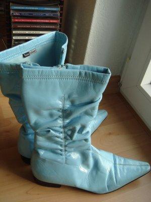 Vintage -  Rome Fashioner -  Sommer Stiefel hellblau spitz Lackleder-Imitat  Gr. 37 - 90er Jahre