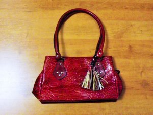 Carry Bag carmine imitation leather