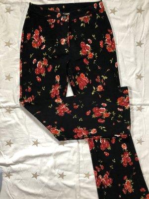 Pantalon strech noir-rouge foncé