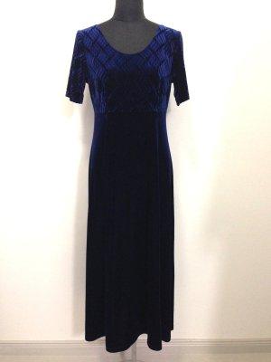 Vintage Samtkleid in dunkelblau, Gr. 42