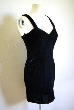 Vintage Samtkleid schwarz, elegantes Abendkleid Samt, preppy blogger alternative