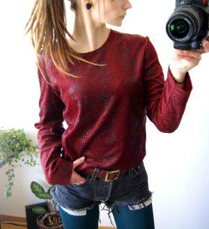 Vintage Samtshirt bordeaux-schwarz, Animalprint Noppenstruktur Sweater Samt weinrot